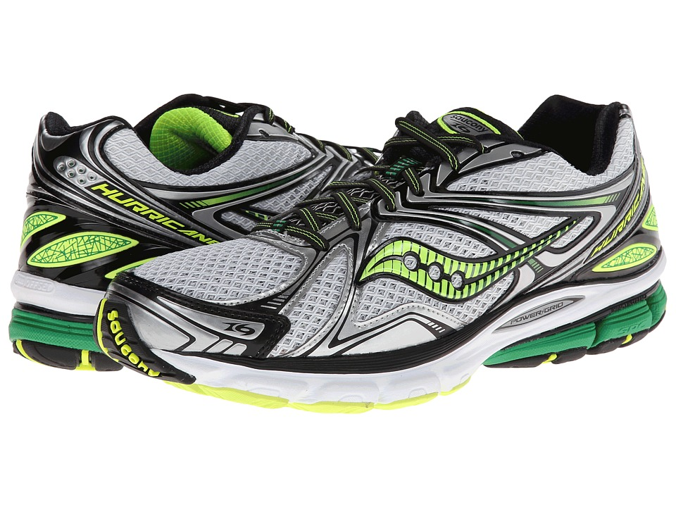 Saucony - Hurricane 16 (White/Green/Citron) Men's Shoes