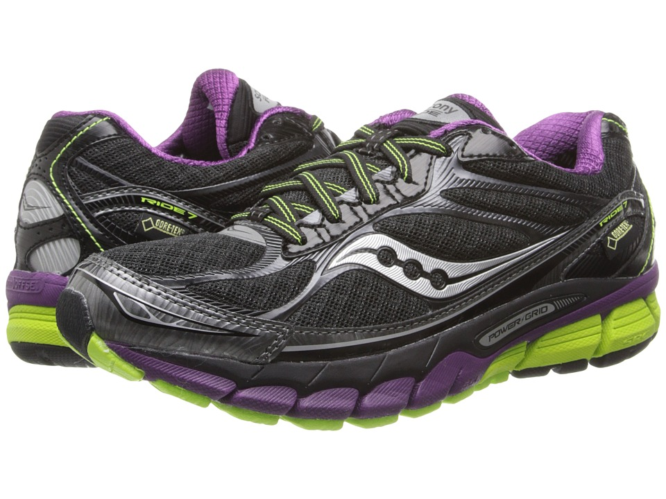 Saucony - Ride 7 GTX (Black/Purple/Citron) Women's Running Shoes