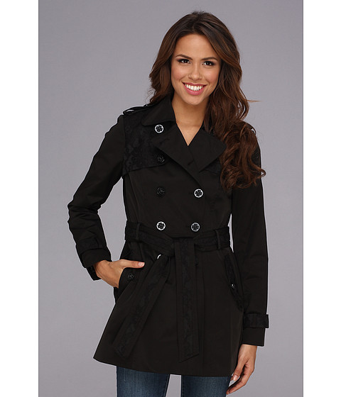 Jessica Simpson - Lace Trim Trench Coat JOFMC619 (Black) Women