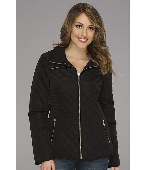 Jessica Simpson - Quilted Jacket w/ Floral Lining (Black) Women's Coat