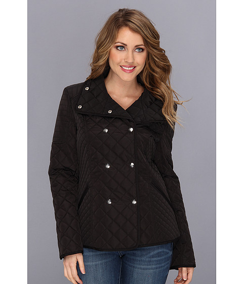 Jessica Simpson - Quilted Double Breasted Coat (Black) Women's Coat