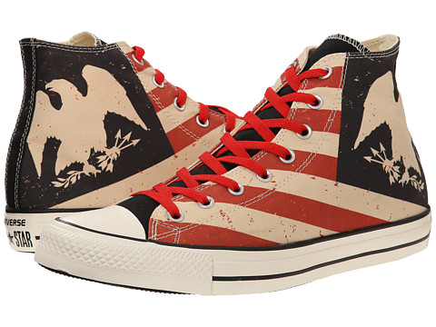 Converse - Chuck Taylor All Star Americana Print Hi (Black/Fire Brick/Natural) Lace up casual Shoes