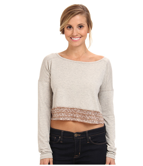Lole - Anada L/S Crop Top (Beige Mix) Women's T Shirt