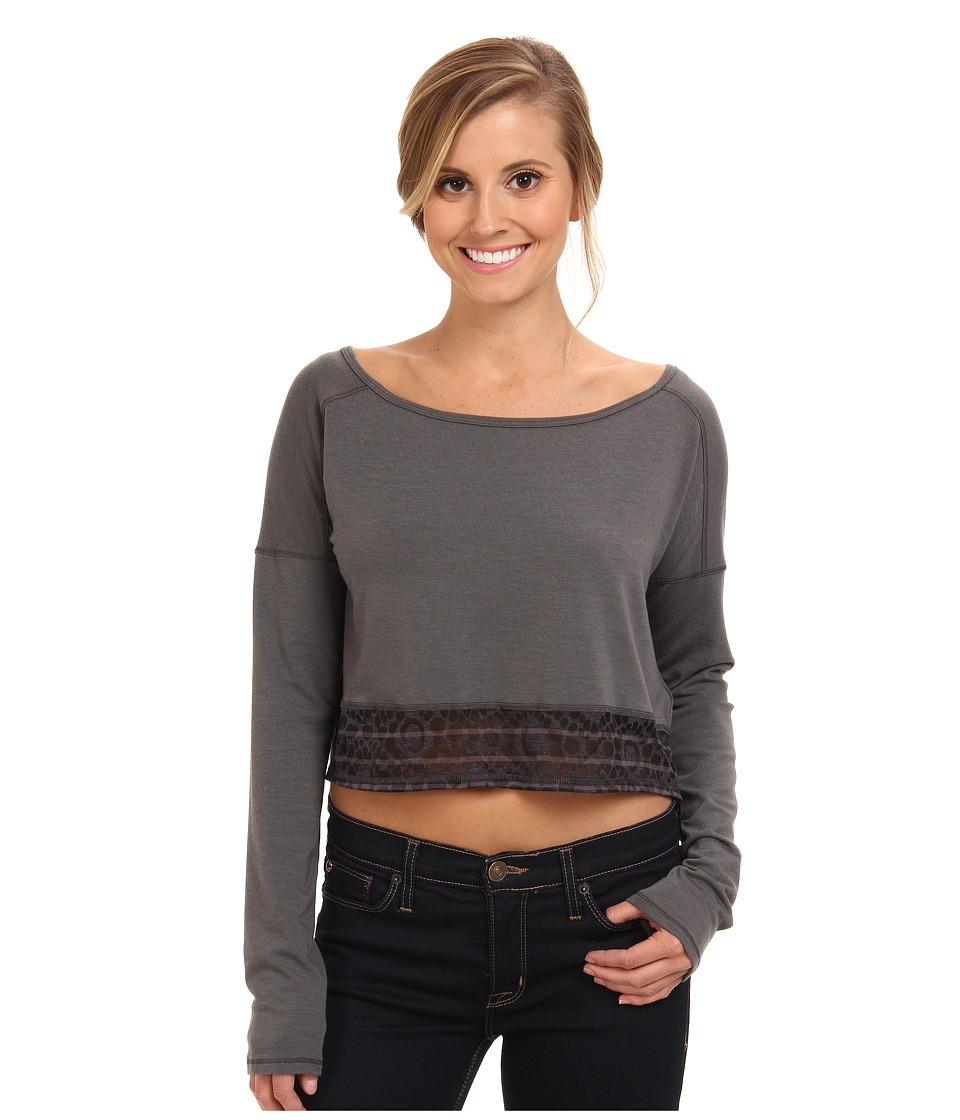Lole - Anada L/S Crop Top (Dark Charcoal) Women's T Shirt