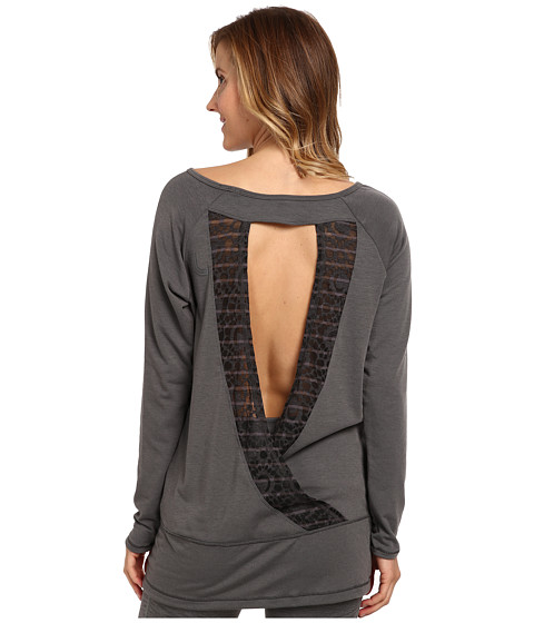 Lole - Suddhi L/S Top w/ Open Back (Dark Charcoal Mix) Women's Long Sleeve Pullover
