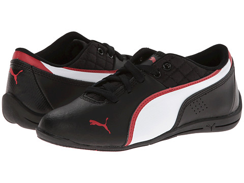 Puma Kids - Drift Cat 6 L Jr (Little Kid/Big Kid) (Black/White/High Risk Red) Boys Shoes