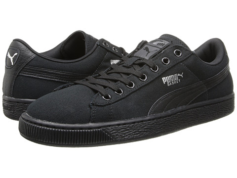 PUMA - Basket Classic Canvas (Black/Black) Athletic Shoes
