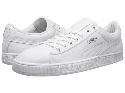 PUMA - Basket Classic Canvas (White/White) Athletic Shoes