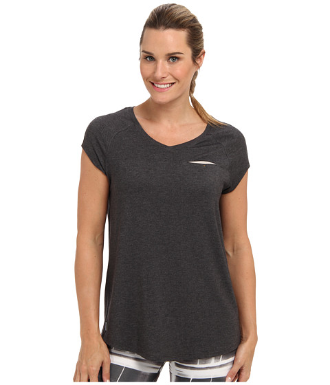 Lole - Aidan Cap Sleeve V-Neck Top (Dark Charcoal Heather) Women's Short Sleeve Pullover