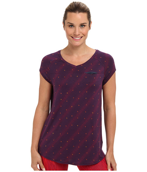 Lole - Aidan Cap Sleeve V-Neck Top (Blackberry Dot) Women's Short Sleeve Pullover