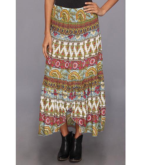 Roper - 8997 Printed Challis 3-Tiered Skirt (Blue) Women's Skirt