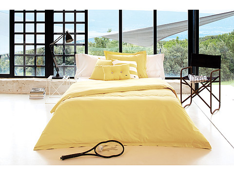 Lacoste - Brushed Twill Solid Twin Comforter Set (Lemon Drop) Sheets Bedding