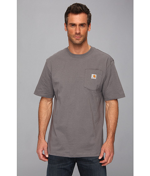 Carhartt - Big Tall Workwear Pocket S/S Tee (Charcoal) Men's Short Sleeve Pullover