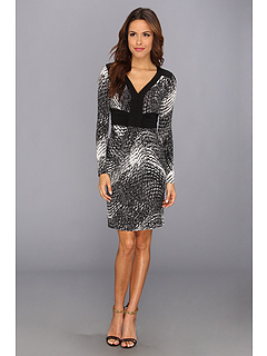 SALE! $92.99 - Save $85 on BCBGMAXAZRIA Paulette Long Sleeve Dress (Black Comb) Apparel - 47.76% OFF $178.00