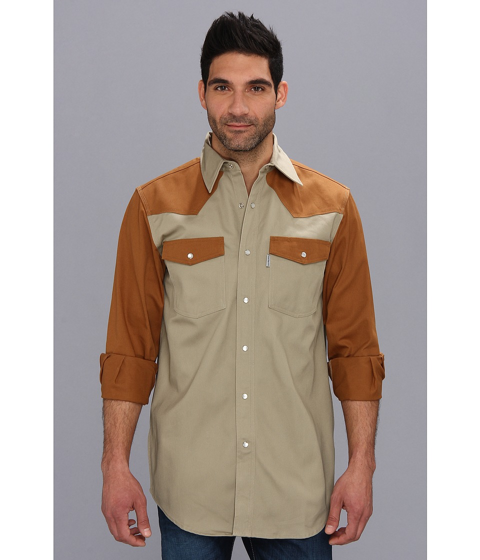Carhartt - Ironwood Twill Work Shirt (Khaki/Carhartt Brown) Men's Long Sleeve Button Up