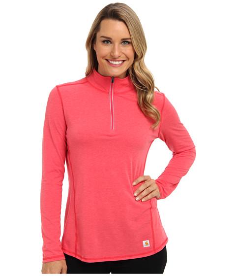 Carhartt - Force Quarter Zip Shirt (Geranium Coral Heather) Women's Long Sleeve Pullover