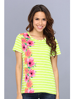 SALE! $14.99 - Save $21 on Caribbean Joe S S Stripe w Print (Clear Lime) Apparel - 58.36% OFF $36.00