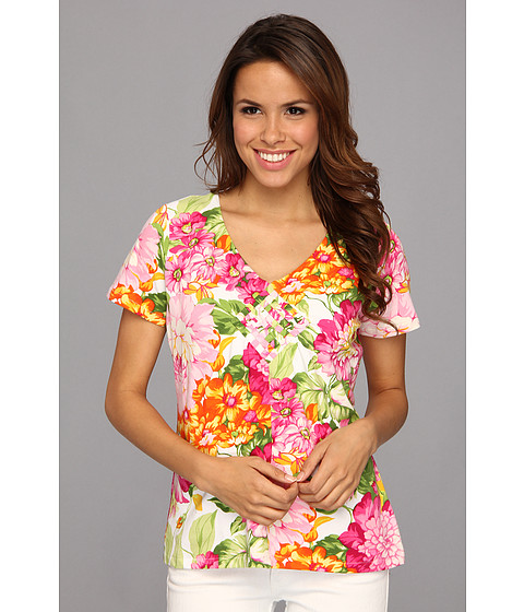 Caribbean Joe - S/S V-Neck With Weave Detail/Bursting Zinnias (Tickled Pink) Women's Short Sleeve Knit