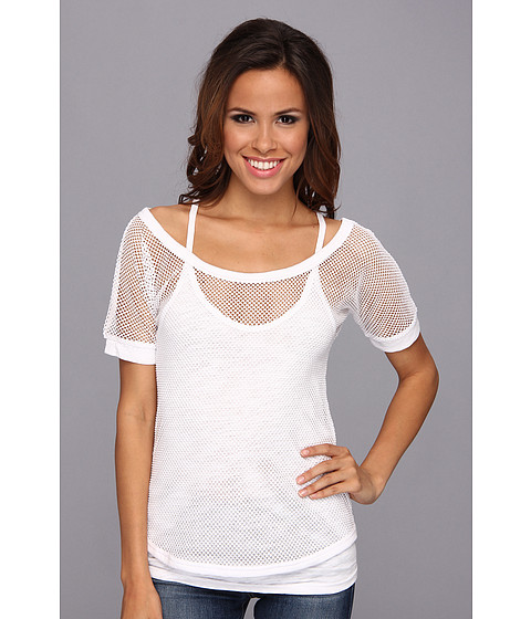 Roper - 9060 Fishnet Tee w/ Racer Back Tank (White) Women's Sleeveless