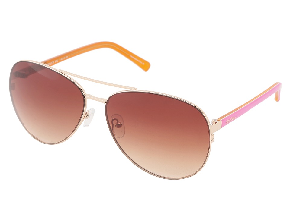 Lilly Pulitzer - Finley (Gold/Pink White Orange Laminate) Fashion Sunglasses
