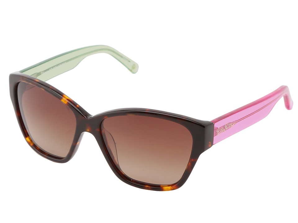 Lilly Pulitzer - Flora (Dark Tort/Crystal Pink/Crystal Green) Fashion Sunglasses