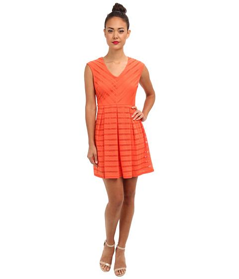 rsvp - Kirina Fit and Flare Dress (Hot Coral) Women's Dress