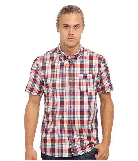 7 Diamonds - Waterloo Sunset S/S Shirt (Red) Men's Short Sleeve Button Up