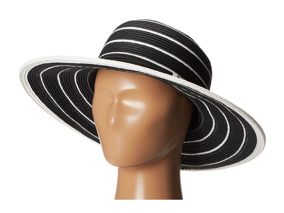 San Diego Hat Company - UBM4438 Striped Belted Floppy (Black White Stripe) Traditional Hats