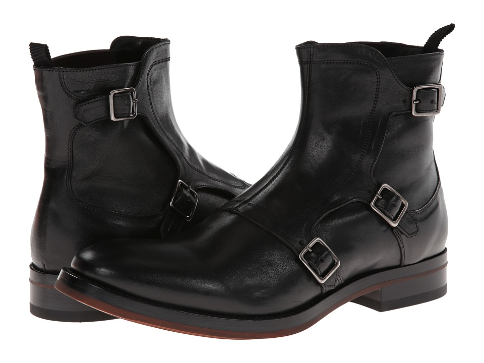 Alexander McQueen - Gable 3 Buckle Boot w/ Red Sole (Black) Men's Boots