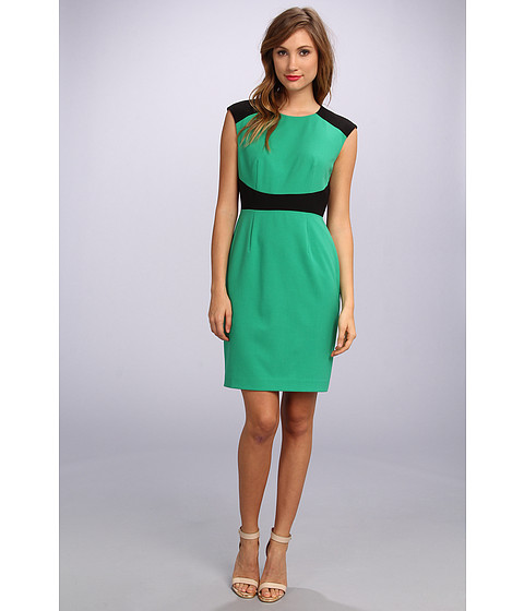 Calvin Klein - Cap Sleeve Colorblock Lux Sheath Dress (Grass/Black) Women's Dress