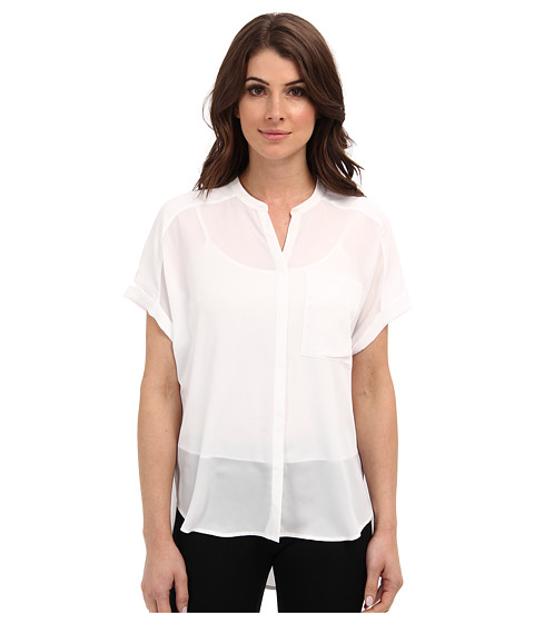 DKNYC - Rolled S/S Button Thru Blouse (White) Women