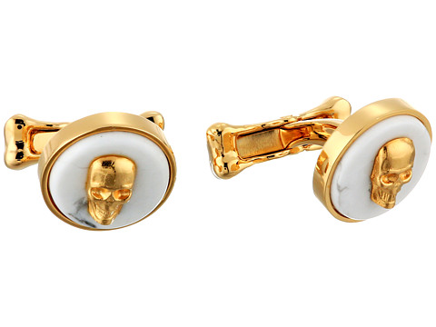 Alexander McQueen - Skull On Stone Cufflink (White) Cuff Links
