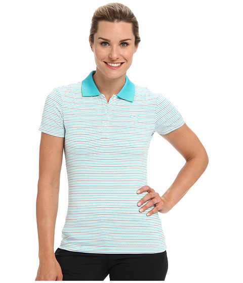 PUMA Golf - W Road Map Polo (White/Scuba Blue/Turkish) Women's Short Sleeve Pullover