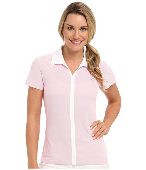 PUMA Golf - V-Neck Polo (Fuchsia Purple/White) Women