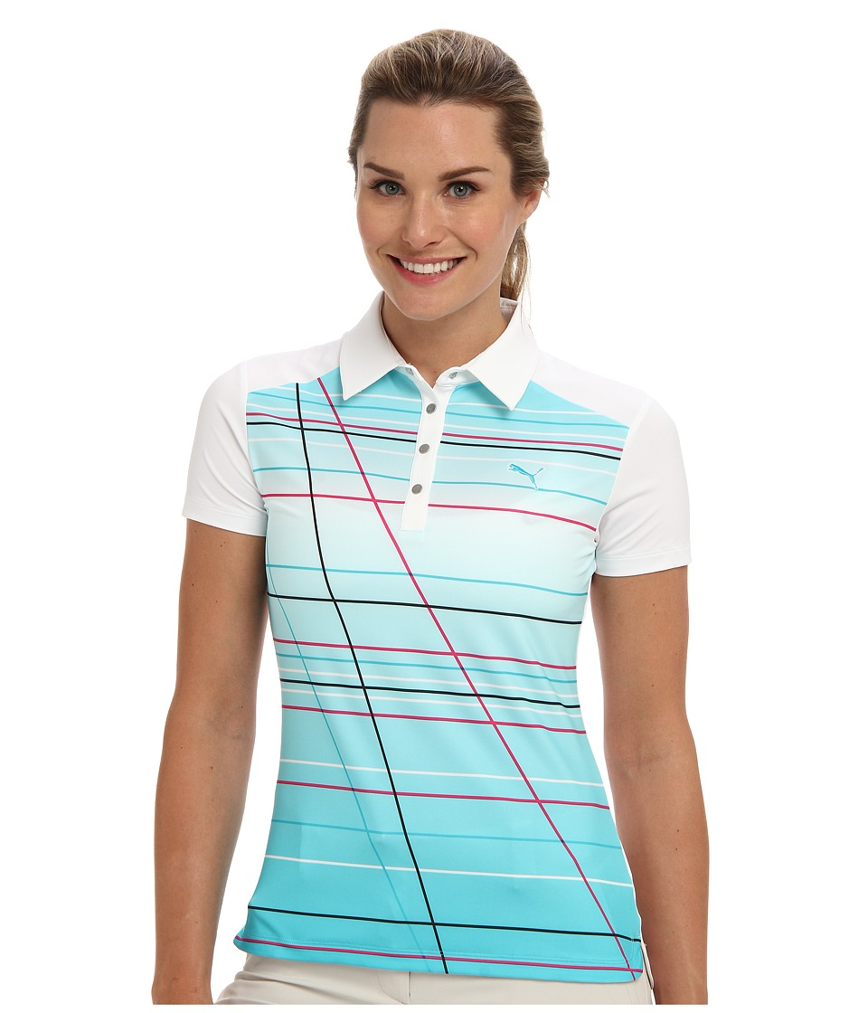 PUMA Golf - Line Stripe Polo (White/Scuba Blue/Pot) Women's Short Sleeve Knit