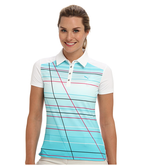 PUMA Golf - Line Stripe Polo (White/Scuba Blue/Pot) Women's Short Sleeve Knit
