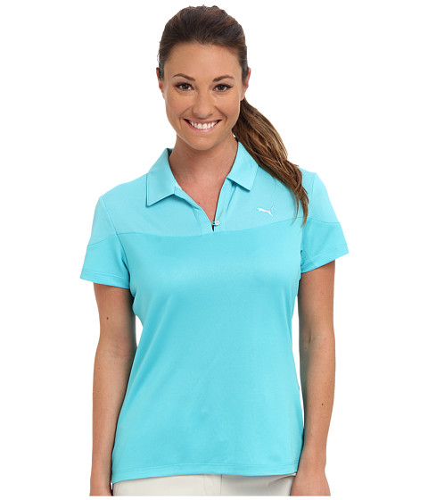 PUMA Golf - Color Blocked V-Neck Top (Scuba Blue) Women