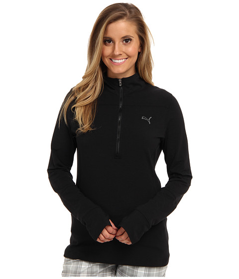 PUMA Golf - 1/2 Zip L/S Top (Black) Women's Long Sleeve Pullover