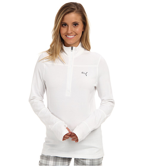 PUMA Golf - 1/2 Zip L/S Top (White) Women's Long Sleeve Pullover