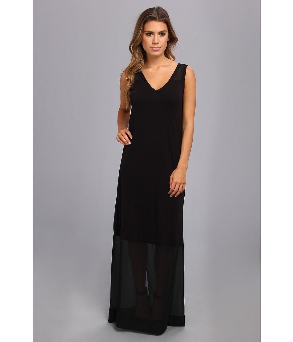DKNYC - Sleeveless V-Neck Maxi Dress w/ Chiffon Yoke and Hem (Black) Women's Dress