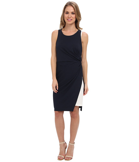 DKNYC - Sleeveless Knotted Dress w/ Contrast Underlayer (Nightfall) Women