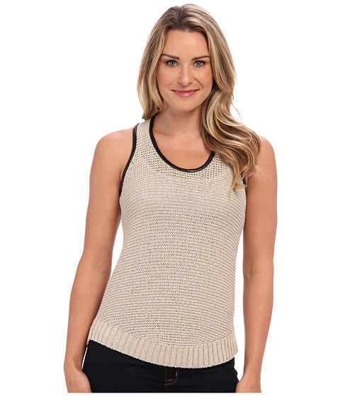 DKNYC - Sleeveless Curved Hem Pullover w/ Faux Leather Trim (Pumice) Women