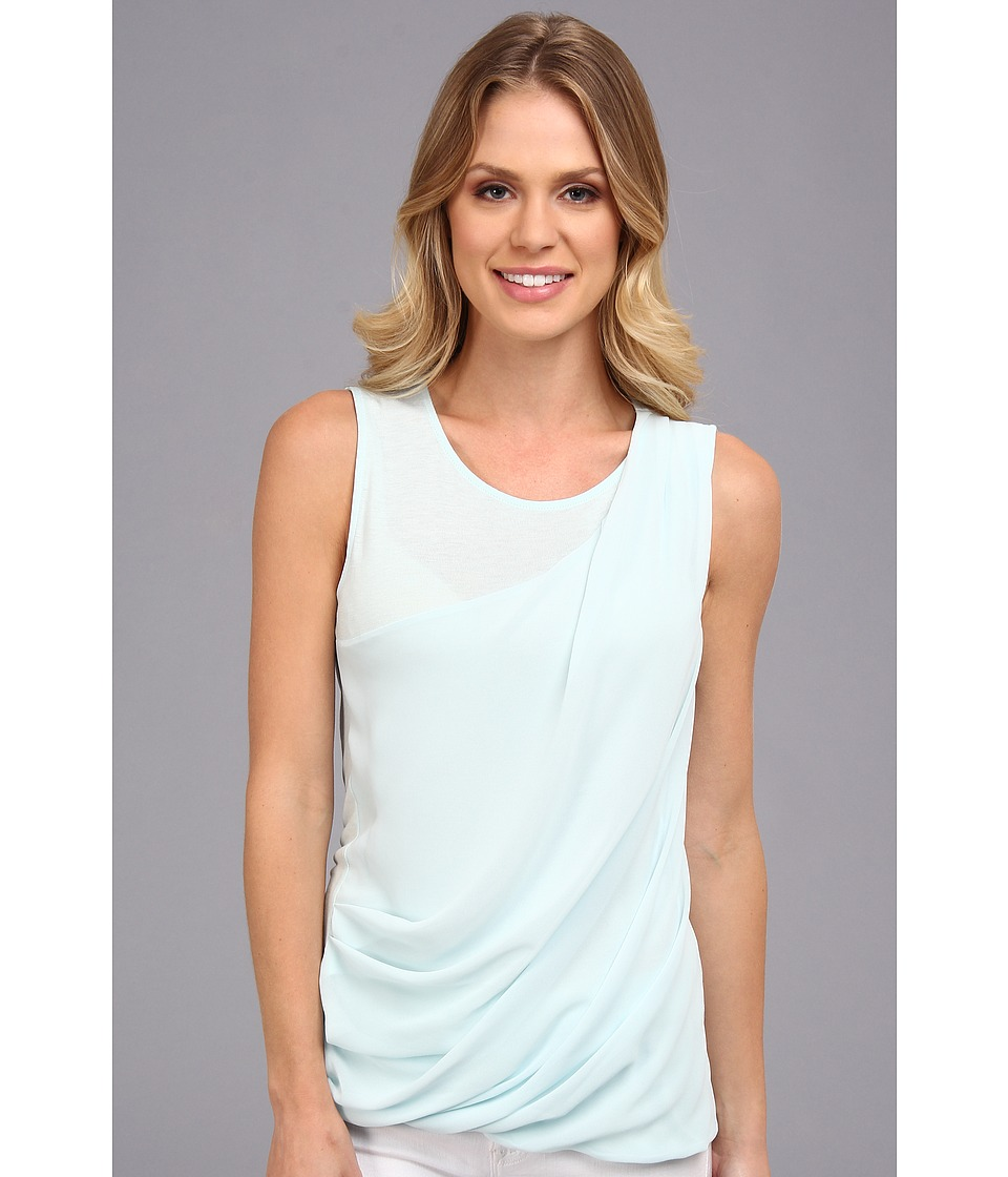 DKNYC - Lightweight Jersey Sleeveless Top w/ Diagonal Chiffon Overlay (Starlight Blue) Women's Sleeveless