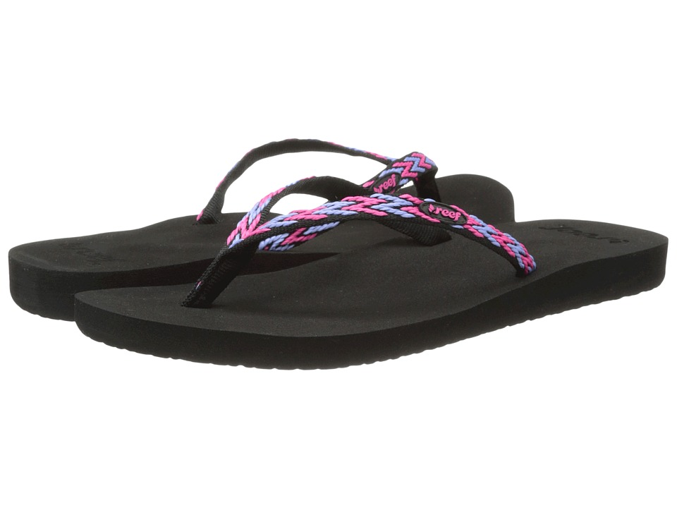 Reef - Ginger Drift (Black/Hot Pink/Blue) Women's Sandals