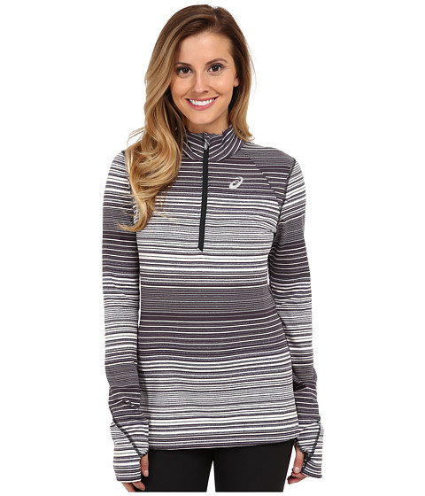 ASICS - Thermostripe 1/2 Zip (Black/White Stripe) Women's Workout