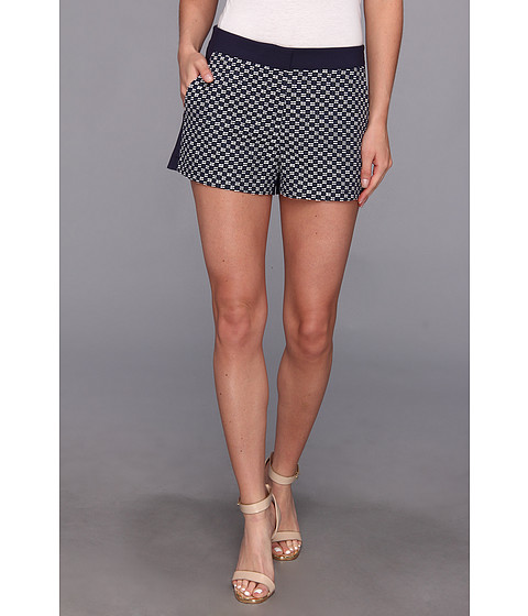 DKNYC - Roma Geo Jacquard Short w/ Sateen Back and Waistband (Eclipse) Women
