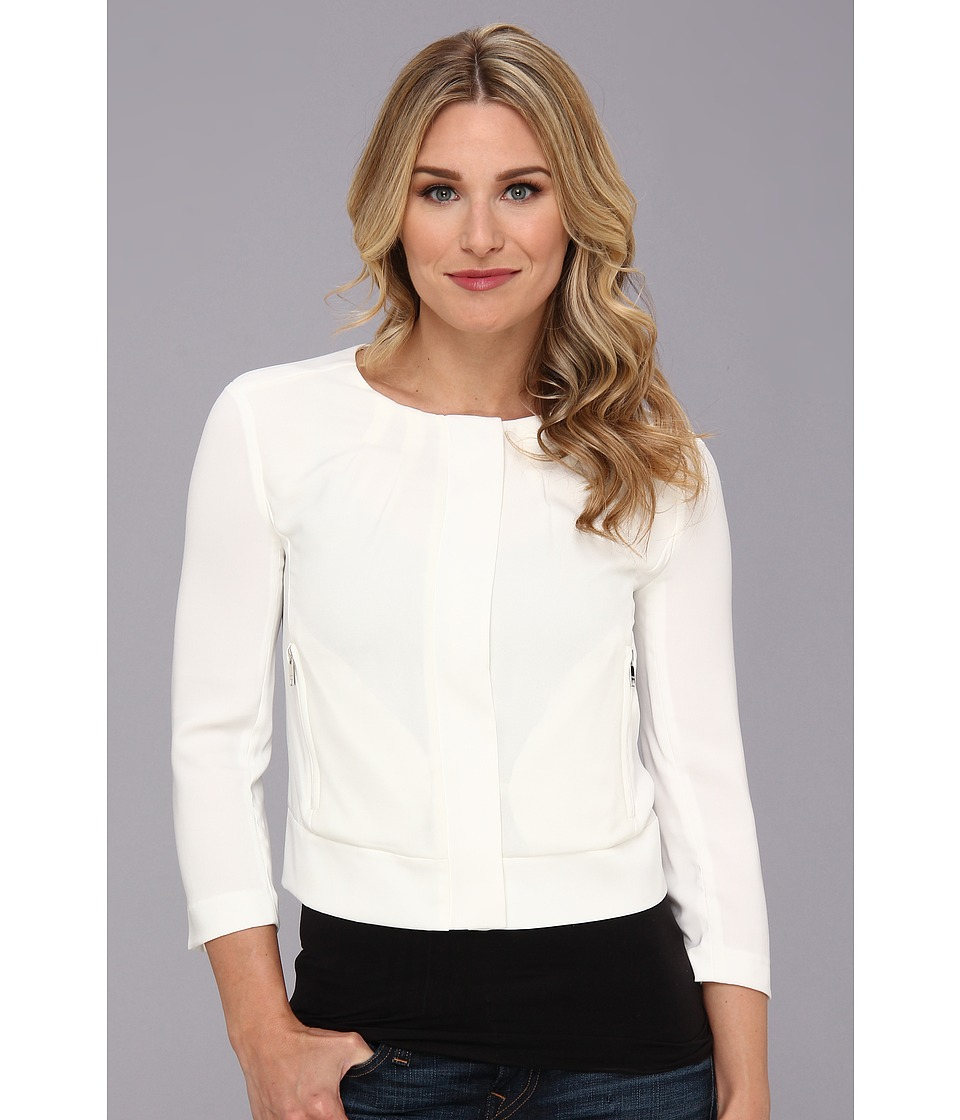 DKNYC - Tech Crepe 3/4 Sleeve Chiffon Front Cropped Jacket (Ivory) Women
