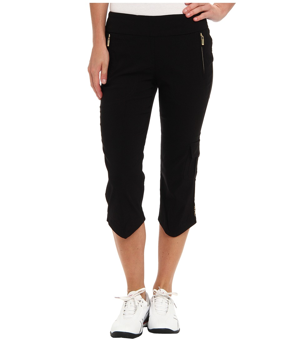 Jamie Sadock - Skinnylicious 28.5 in. Pedal Pusher with Gold Zippers and Control Top Mesh Panel (Black With Gold) Women's Capri
