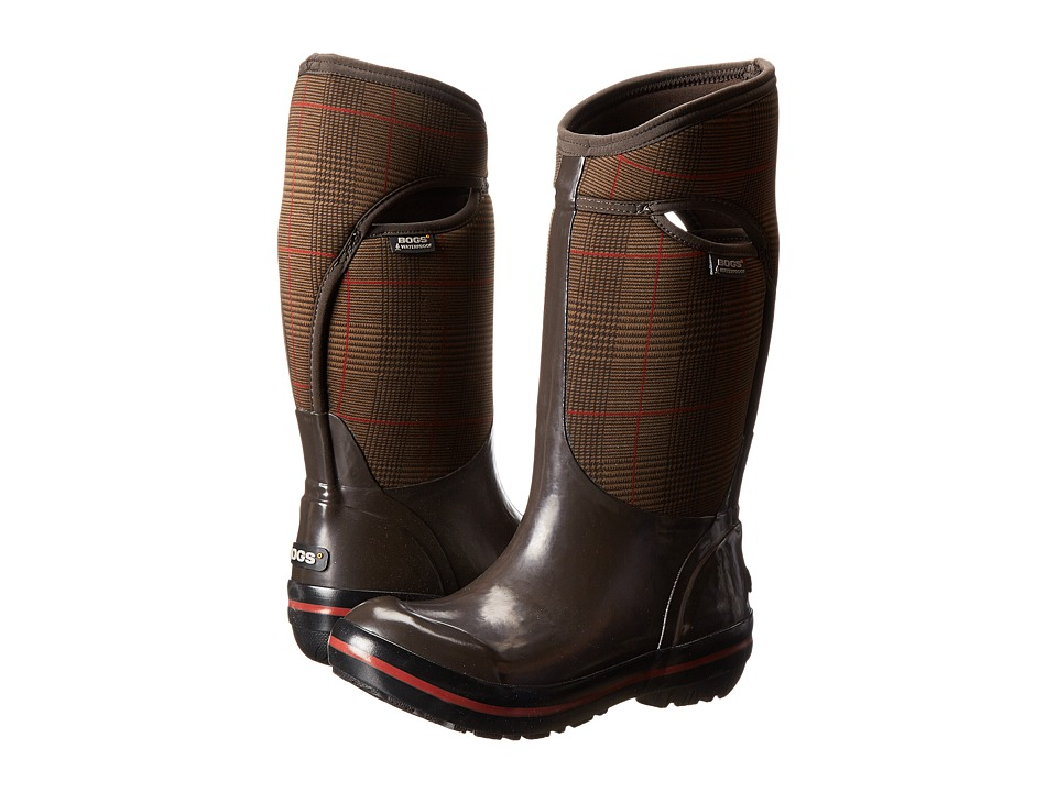 Bogs - Plimsoll Prince of Wales Tall (Chocolate) Women