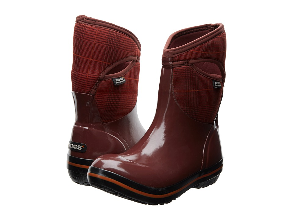 Bogs - Plimsoll Prince of Wales Mid (Raisin) Women's Pull-on Boots